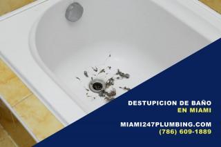Destupición de baño en Miami (786) 609-1889